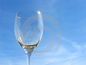 Empty Wineglass On Sky Backgro Stock Photography - Image: 3069482