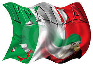 Italy Flag / Map & Eagle Stock Photo - Image: 3069790