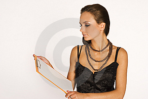 Brunette With A Pad Royalty Free Stock Images - Image: 3071169