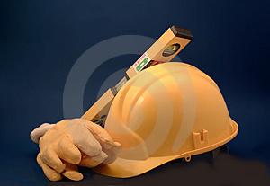Construction items on yellow Royalty Free Stock Photos