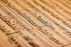Close-up de la nota de la música.