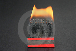A Box Of Burning Matches Stock Photography - Image: 310482