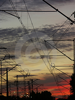 Railway System Against The Sunset Sky Stock Image - Image: 312641