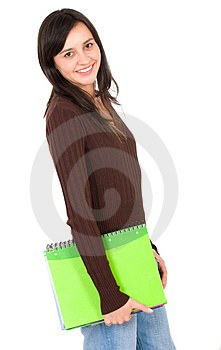 Female student with notebooks Free Stock Images