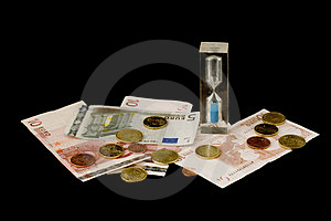 Euros And Sand Glass Royalty Free Stock Image - Image: 3143976