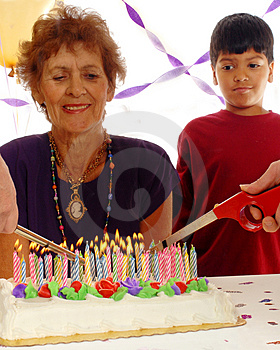 Cake on Fire Stock Image