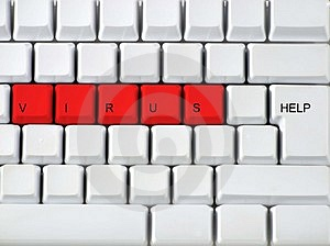 Keyboard - red key virus, clos