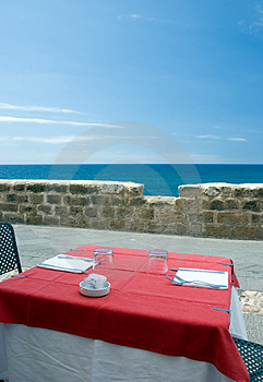Restaurant Table On The Sea Royalty Free Stock Image - Image: 3168516