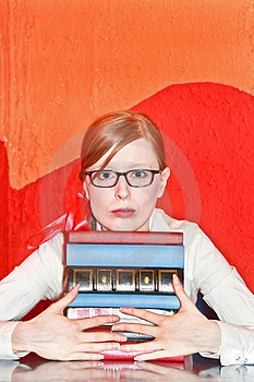 Pupil with books Stock Photography