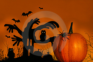 Spooky Tree With Pumpkin Royalty Free Stock Image - Image: 3175186