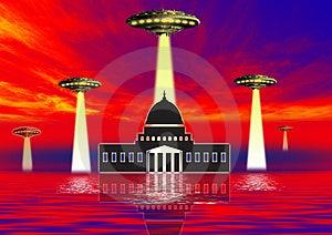 Ufo Over Landmarks Royalty Free Stock Photography - Image: 3176027