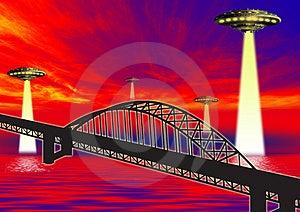 Ufo On Bridge Royalty Free Stock Photography - Image: 3176037