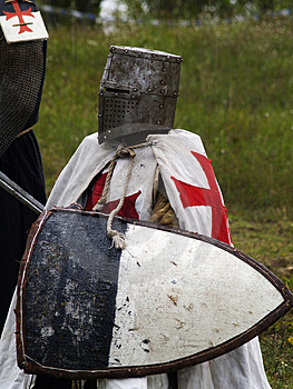 Crusader sitting Stock Photo