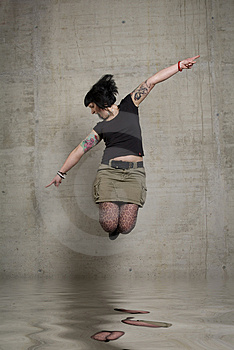 Jumping Woman Royalty Free Stock Photo - Image: 3189225
