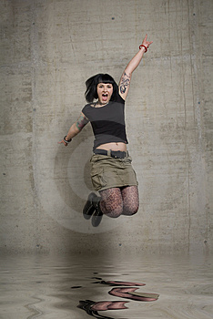 Jumping Woman Royalty Free Stock Photography - Image: 3189227