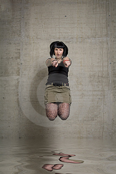 Jumping Woman Stock Image - Image: 3189231