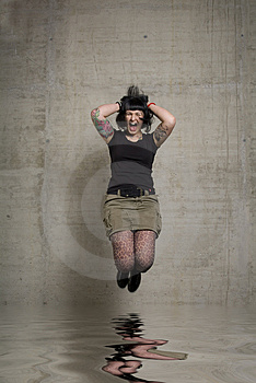 Jumping Woman Stock Photography - Image: 3189232