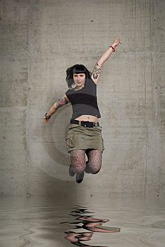 Jumping Woman Stock Photos - Image: 3189233