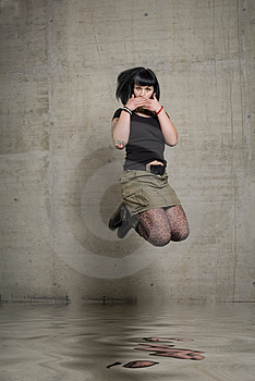 Jumping Woman Royalty Free Stock Photography - Image: 3189247
