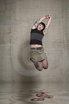 Jumping Woman Stock Photo - Image: 3189250