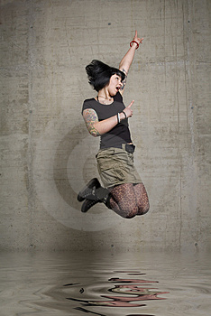 Jumping Woman Royalty Free Stock Photo - Image: 3189255