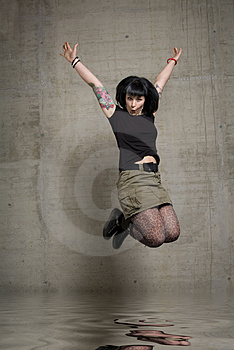 Jumping Woman Royalty Free Stock Photography - Image: 3189257