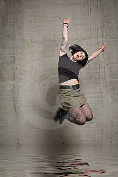 Jumping Woman Royalty Free Stock Images - Image: 3189269