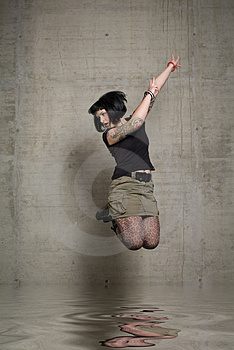 Jumping Woman Stock Photo - Image: 3189270