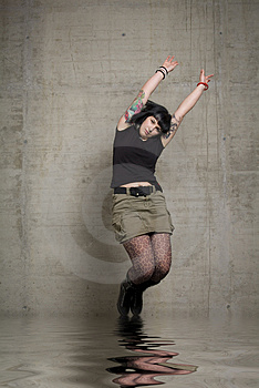 Jumping Woman Stock Image - Image: 3189271