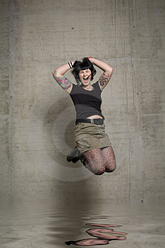 Springende Frau Stockfotos - Bild: 3189273