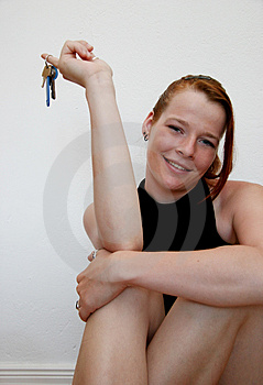 Young Woman With Keys Royalty Free Stock Photos - Image: 3195608