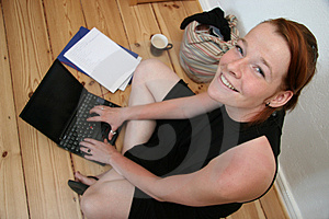 Young Woman With Laptop Smilin Stock Photo - Image: 3195620