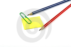 Paper Clip, Pencils, Sticker. Royalty Free Stock Photos - Image: 3220438