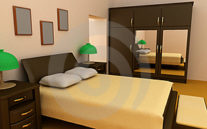 Cosy bedroom interior 3d Stock Photos