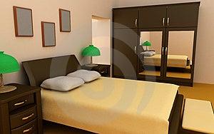 Cosy bedroom interior 3d Stock Photos