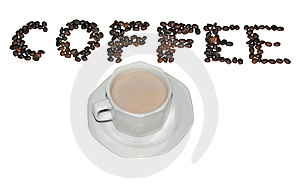 Coffee cup and coffee written with beans Stock Photos