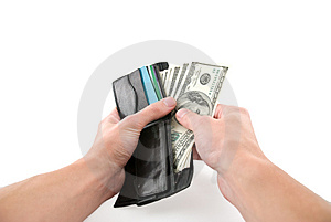 Paying cash Stock Image