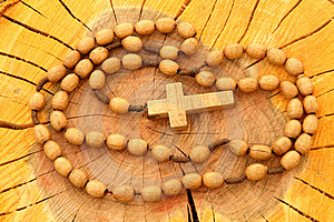 Wooden Rosary On Wood Stock Photo - Image: 3257230