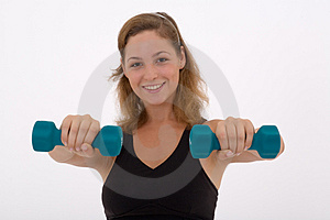 Girl Lifting A Weight Royalty Free Stock Photography - Image: 3302397