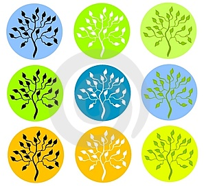 Colorful Tree In Circle Icons Stock Photography - Image: 3312782