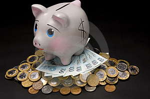 Piggy Bank With Money Stock Photo - Image: 3320700