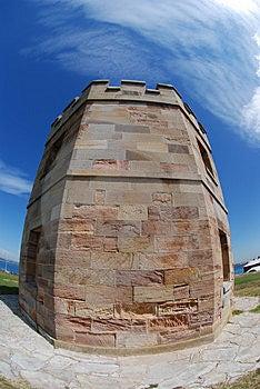 Brick Tower Blue Sky Fisheye Royalty Free Stock Image - Image: 3325086