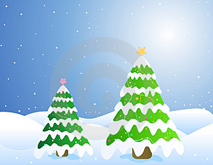 Christmas Trees / Card Stock Image - Image: 3329951