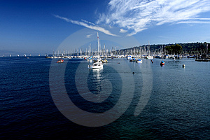 Ships In Leman Lake Stock Photos - Image: 3359973