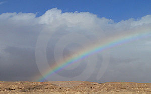 Rainbow in the desert Stock Photo