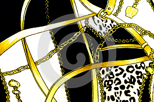 Gold chain looped heart pattern.For art texture or web design a Stock Images