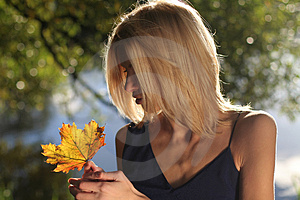 Girl With Maple Leave Stock Images - Image: 3382294