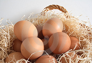 Fresh Eggs In A Basket Royalty Free Stock Photography - Image: 3390957
