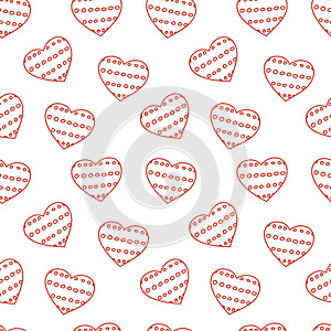 Hand Drawn Doodle Seamless Pattern Of Hearts Royalty Free Stock Photography - Image: 34170837