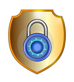Shield with padlock Royalty Free Stock Photo